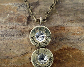Winchester Bullet Jewelry - Bullet Necklace - Win 9mm - Crystal