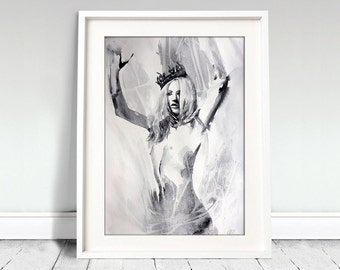 Watercolor Print. Digital art print of young naked lady with crown. Art Print. Wall art, home art.