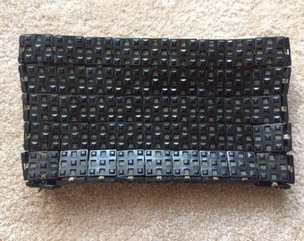 Vintage 1940s Black Plastic Geometric Clutch Purse by Jorues Plastiflex