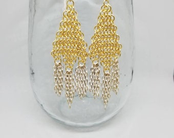 Fringe and chainmail earrings