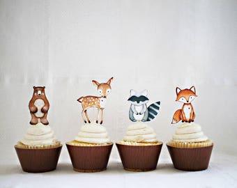 12 Woodland Cupcake Toppers, Woodland Animal Cupcake Toppers, Woodland Baby Shower, Woodland Birthday decor HM111