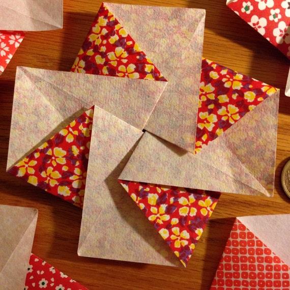 Five japanese flower blossom tato origami envelopes or flat mightylinksfo