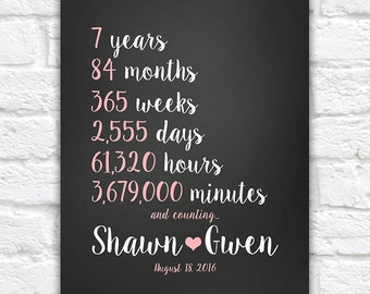 Any Year Anniversary Gift, Wedding Anniversary 7th, 7 Year Anniversary Countdown Time Spent Together, Personalized Keepsakes | WF497