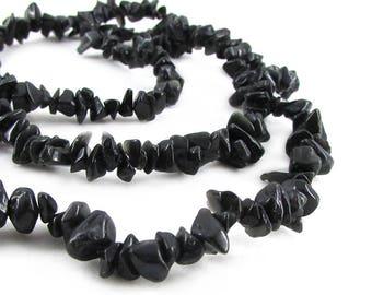 Black Sheen Obsidian Chip Beads, Gemstone Chips Bead Strand, Semi Precious Beads, Natural Obsidian Chips, Tumbled Chip Beads, 35 inch strand