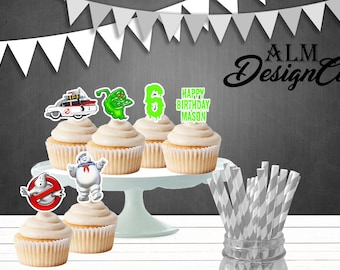 Ghostbuster cupcake toppers - ghostbuster birthday decorations - ghostbuster birthday party - ghostbuster shipped cupcake toppers