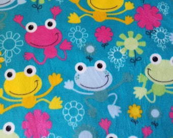 Frogs & Flowers Fleece Fabric (1 yard 4 inches)