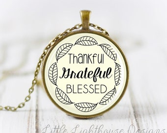 Large Thankful Grateful Blessed Necklace Quote Necklace Quote Pendant Verse Necklace Christian Pendant Christian Jewelry Fall Jewelry Gift