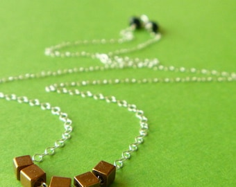 Cubed Necklace -- Brass Cubes on Sterling Silver -- babblingbrookes