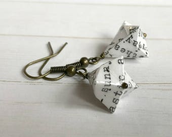 Origami Bell Earrings // Typewriter Text