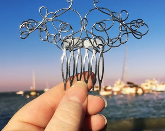 Silver Wire Hair Comb, Hair Jewelry, Hair Accessories, Hair Fork, Hair Pin, Hair Clip