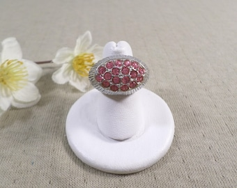 Beautiful Vintage Silver Tone Pink Rhinestone Costume Adjustable Ring  DL#4027