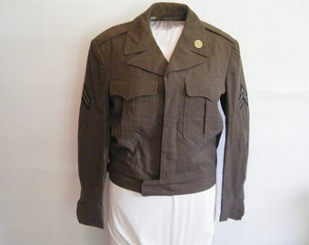 Eisenhower Military Issue Officers Jacket 38 Regular, Vintage Cropped Ike Style Wool Dress Army Uniform, could use cleaning