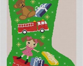 Holiday Magic Christmas Needlepoint Stocking Canvas