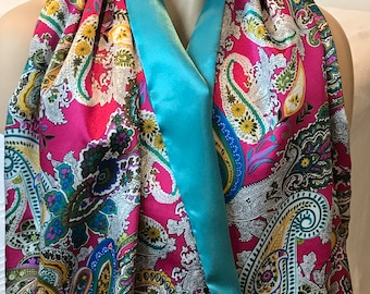 Rich, colorful long paisley versatile print satin scarf with fuschia, teal reversible - shawl and scarf gift, wedding accessories, scarf