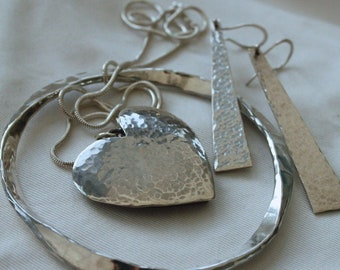Sterling Silver Heart 'Sea Shimmer' Necklace