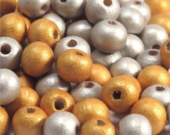 Mix matched 100 wood 8mm Golden silver round beads