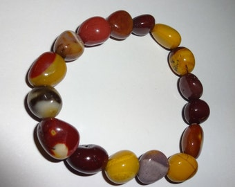 1pc Mookaite Jasper Premium Quality Tumblestone Natural Tumbled Stone Gemstone Crystal Healing 7 inch Stretch Bracelet