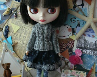 Grey and dark grey Blythe doll stockings