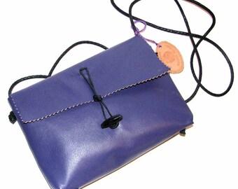 Ultra Violet Lambskin Mama Hippo Cross Body Handbag Handmade
