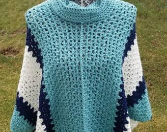 Cowl Neck Ponco - Crochet Poncho