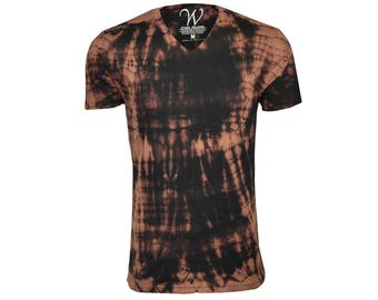 100% Cotton Made in the USA Hand Dyed Sueded Semi-fitted V-Neck T-Shirt