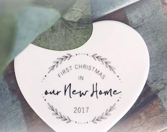 First Christmas In Our New Home  ...Ceramic Heart  - Christmas - Keepsake