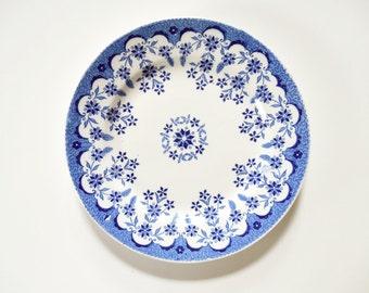 Antique French Faience Plate ~Sarreguemines~ Blue German Loraine Trademark ~ Blue & White Floral Transferware Plate c1894-1919