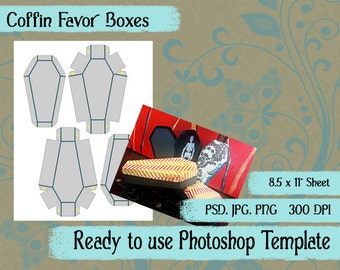 Scrapbook Digital Collage Photoshop Template, Halloween Coffin Favor Boxes