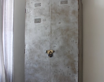 Charlie Vintage Reclaimed Urban Industrial Chic 1950s Stripped Down and Distressed Bare Steel Coat Cupboard or Wardrobe with Brass Handles