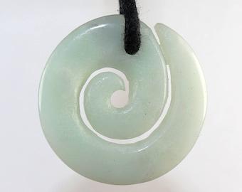 Amazonite (Maori spiral) on leather strap / cotton cord (necklace)