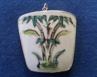 Vintage Chinese Pottery Shard and Silver Pendant