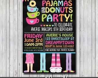 Donuts and Pajama Party Invitation, Digital File, DONUTS, PAJAMA PARTY, Custom Invitation, Donut Party