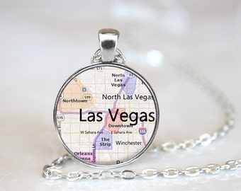 City Maps Las Vegas Glass Pendant/Necklace/Keychain