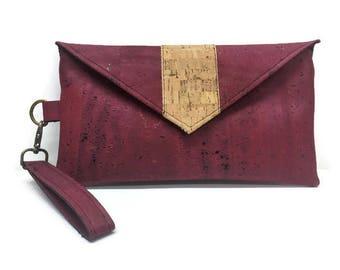 Cork Wallet, Burgundy, Cork Wristlet, Gift for Her, Phone Wallet, Wristlet Wallet, Vegan Clutch, iPhone Wristlet, Cork Clutch, Cork Handbag