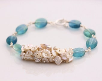 Blue Fluorite & Cornflake Keshi Pearl Bracelet, Sterling Silver Bracelet, Toggle Clasp, Gold Filled, June Birthstone, Cluster Wire Wrapped