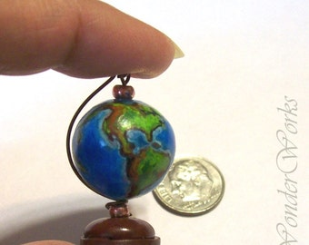 Circling World Globe Functional Artisan Sculpted & Detail Painted 12th Scale Miniature Office Decor Dollhouse Decoration Detailed Earth