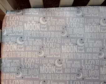 I Love You To The Moon And Back Crib Bedding. Baby Bedding. Neutral Nursery Bedding