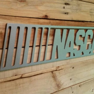 Nascar Sign with Maple Backdrop  Metal Style Sign  MDF Board Cut Out Logo With Faux Metal Finish  Rustic Pallet Wood