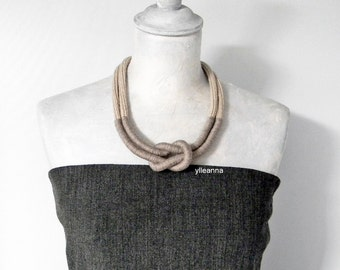 Statement necklace - Wool necklace - Minimalist jewelry - 7th anniversary gift - Neutral colors beige taupe - Gift for woman.