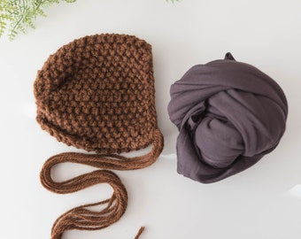 Newborn bonnet set,baby bonnet,newborn bonnet wrap set,wrap and bonnet set,photography props,baby bonnet brown,newborn props,newborn wraps