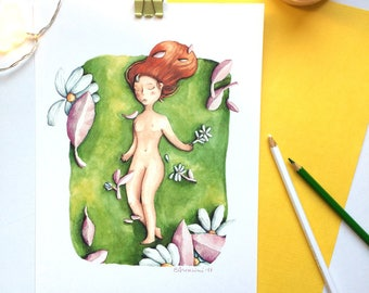 """Grass, from watercolour series """"Floating girls"""""""