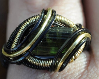 Size 5 Genuine Green Tourmaline Wire Wrapped Ring in Silver Plated Copper