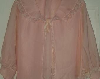 Vintage Elizabeth Arden London Bed Jacket Pink Size 36