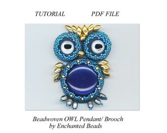 PDF File COMMERCIAL Tutorial. DIY. Blue Owl Pendant/ Brooch . Beadwoven Owl . Download . Beadwork - Instructions by enchantedbeads on Etsy