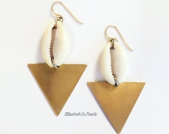 Currency: Cowrie Shell and Raw Brass Earrings