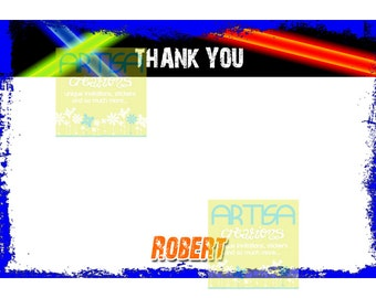 Laser Tag Birthday Printable Thank You Card -  Lasertag Thank You DIY - Laser Printable Note Card DIY - Laser tag Thank you Card
