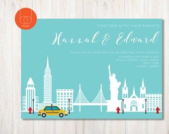 New York City themed Wedding Invitation |destination wedding Skyline wedding | Nyc wedding invitations | Wedding stationary