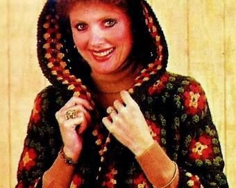 Granny Square Hooded Jacket Vintage Crochet Pattern Download