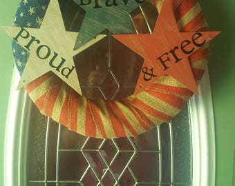 Patriotic wreath/patriotic/America/Proud, brave and free/front door wreath/4th of July wreath/red, white, and blue