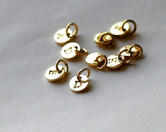 6mm initial Charm, Golden Letter charms, Initial Round Disc, Can Add to necklace or Bracelet, Personalized Initial Charm
